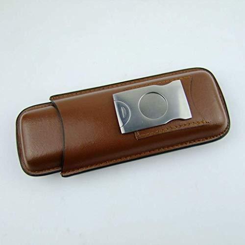 ADSE Schwarzes Leder Zigarrenetui 2 Zigarrensets + Edelstahl-Zigarrenschneider Aufbewahrung Tragbare Zigarrenschachtel (Farbe: Braun)