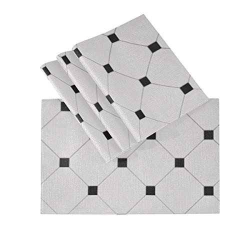 Placemats Set Of 4, Heat Insulation Washable Place Mats, Ceramic White Octagon Tessellation Black Tiles 18 X 12 Inches Kitchen Table Mats Placemat For Dining Table