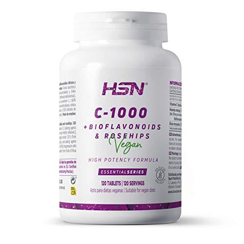 Vitamina C 1000 mg de HSN con Bioflavonoides + 20mg de Rosa Mosqueta | Cantidad x 1 comprimido | 4 Meses suministro | Vitamin c Vegana y sin Gluten, 120 Tabletas