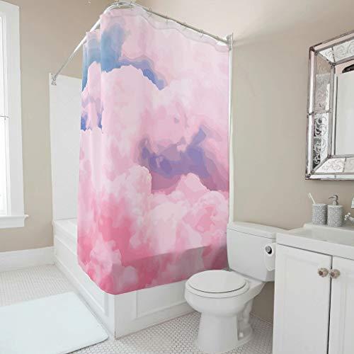 Dofeely Süßigkeit Himmel Bedruckt Duschvorhänge Anti-Schimmel Farbfest Vorhang Badewannenvorhang Wohnaccessoires 150x200cm White 120x200cm