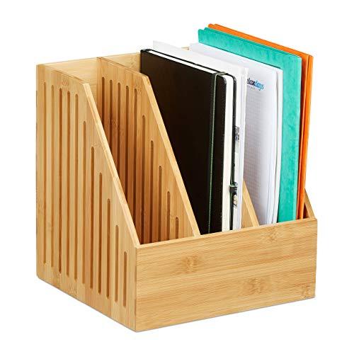 Relaxdays Stehsammler Bambus, 3 Fächer, DIN A4, Büro & Schreibtisch, Zeitschriftensammler, HBT: 30 x 28 x 26,5 cm, Natur, 1 Stück