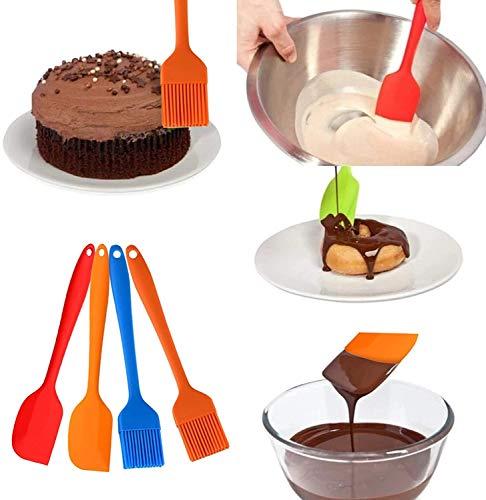 zyh Juego de espátulas de Silicona,Cepillo de pastelería espátula de Silicona 447 ° F espátula de Goma sin Costuras Resistente al Calor para cocinar (Paquete de 4)