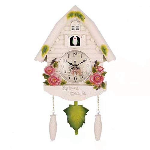 Cobeky Süße Vogel-Wanduhr Kuckucksuhr Wecker Kuckucksuhr Wohnzimmer Uhr Brief Kinderzimmer Dekor Home Day Time Wecker B A weiß
