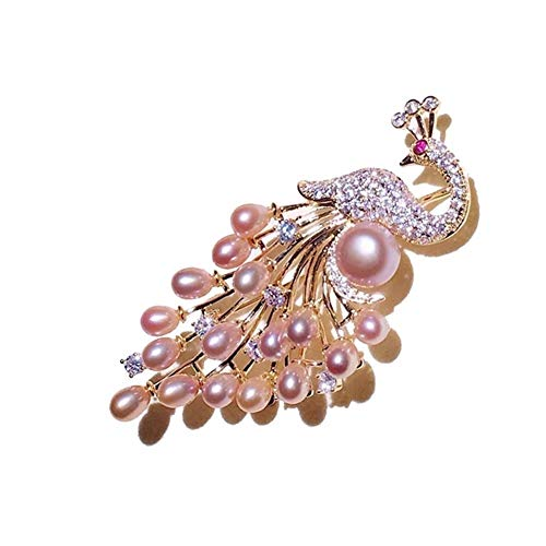 LiXiang666 Otoño e Invierno de Pavo Real Broche de Accesorios Creativa Natural de Agua Dulce Animales Broche de Perlas Partido Jewelr (Color : Pink)