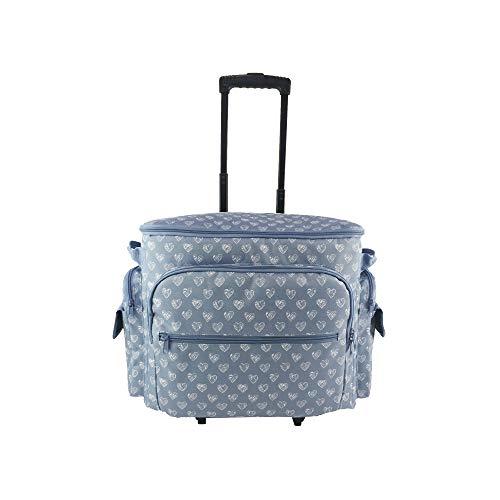 Clarie CNT-362 - Bolsa con ruedas para máquina de coser, Azul/Blanco