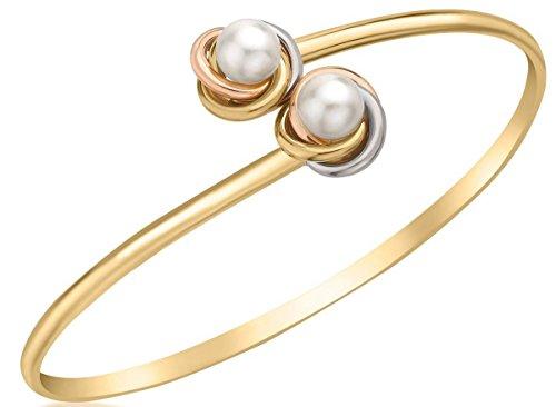 KJ Beckett Damen-Armreif Knoten- und Perlenbesatz flexibel – Gold/Silber/Rotgold