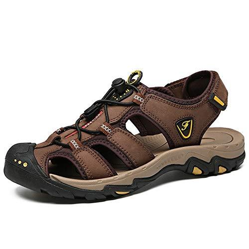 Zapatos de cuero, zapatos casuales, adecuados para Sandalias al aire libre for los hombres Beach transpirable verano calzado cerrado del dedo del pie Caminar Senderismo Pescador Zapatilla con cordones
