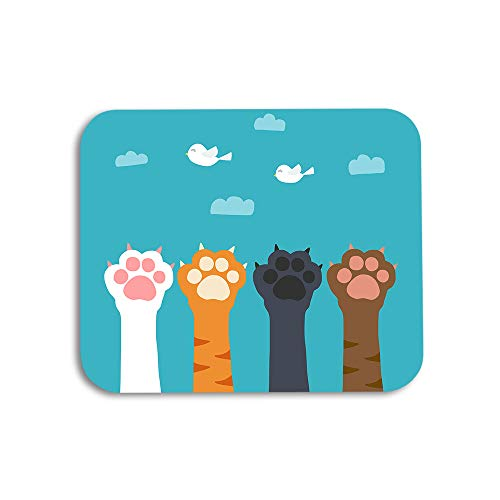 AOYEGO Cat Paw Mouse Pad Cartoon Animal Kitten Bird Sky Cloud Toe Gaming Mousepad Rubber Large Pad Non-Slip for Computer Laptop Office Work Desk 9.5x7.9 Inch