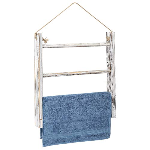 Jolitac Large Wall-Hanging Towel Ladder US Size Rustic Whitewashed Wood Countertop Ladder Farmhouse Decor Towels Rack with Adjustable Rope for Kitchen Bathroom White