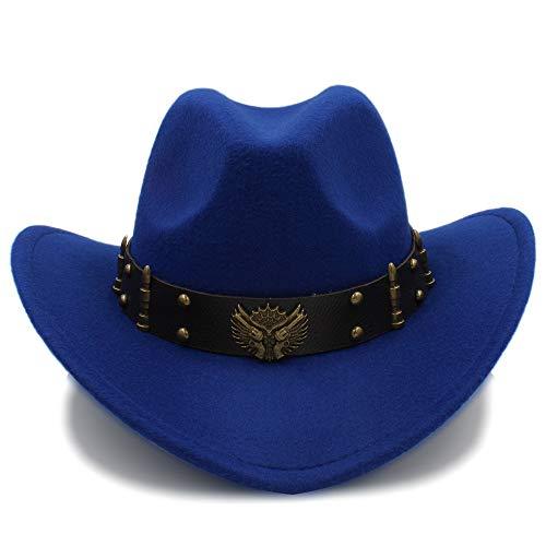 SSLA SSLA 2018 Damen Herren Unisex Vintage Wollfilz Cowboy Breiter Krempe Bowler Hut Türkis Braid Band (57cm) (Farbe : Blau, Größe : 56-58cm)
