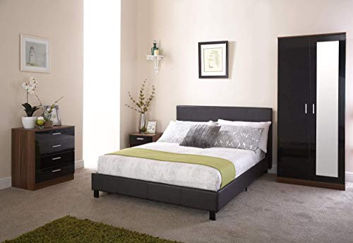 Right Deals UK Bed-In-A-Box 3ft Single Bed - Black Faux Leather