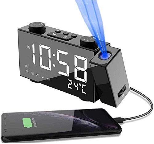 Reloj Despertador Digital Despertador Proyector Digital con Proyección Y Radio Pantalla De 6 Led Atenuador Doble Alarma Temporizador De Umbral 12 / 24h Proyector Giratorio 180 °