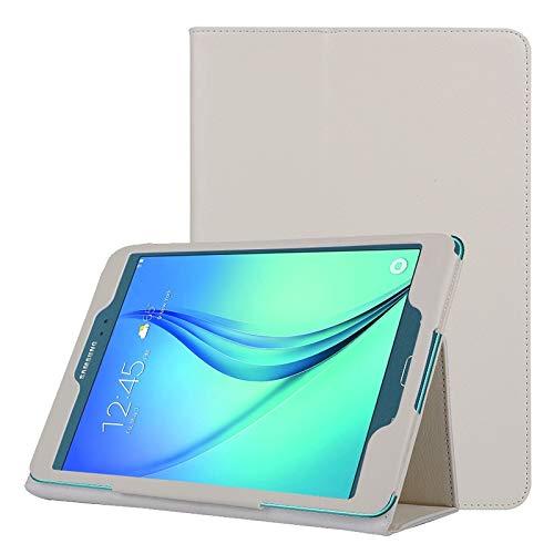 WEI RONGHUA Fundas de Tableta Funda de Cuero Color Liso con Textura de tirón Horizontal de Litchi con Soporte Plegable para Galaxy Tab A 9.7 / T550 Accesorios (Color : Blanco)