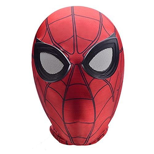 LQ-LIMAO Máscaras De Spiderman Regreso A Casa Accesorios para Niños Superhéroe Cosplay Sombrero Adulto Lycra Spandex Casco Niñas Lentes Juguete Moda Cara Completa,Red-Kids