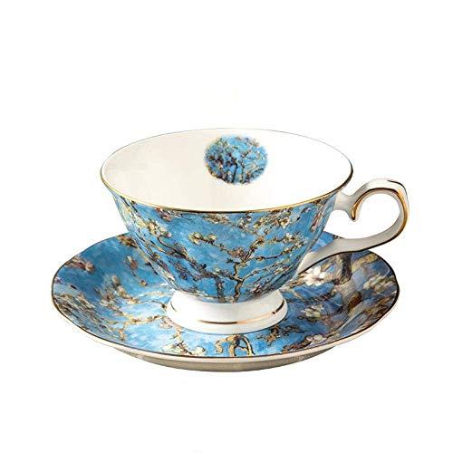 Teetassen Und Untertassen Gemälde Design Fine Bone China 2 Kaffeetassen-Sets Keramik und Teetasse Und Untertasse Mit Geschenkbox (Tassen-Sets)