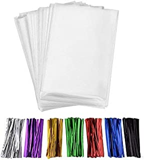 200 Pcs 10 in x 6 in(1.4mil.) Clear Flat Cello Cellophane Treat Bags Good for Bakery, Cookies, Candies ,Dessert with five random color Twist Ties!