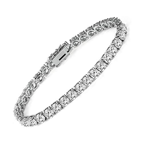 14k White Gold Plated 4.0 Cubic Zirconia Tennis Bracelet for Women and men