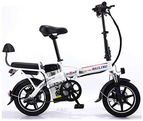 Leifeng Tower Alta Velocidad Bicicleta eléctrica Plegable de la batería de Litio de Coches en tándem for Adultos Bicicleta eléctrica Auto-conducción for Llevar 48V 350W (Color : White, Size : 10A)
