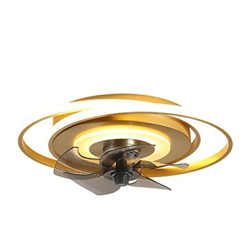 SYXBB-Lampe Ventilador de Techo LED con iluminación Moderno Control Remoto Ventilador Techo Luz de Techo Ultra silenciosa Invisible Luz de Viento Fuente Ajustable Ventilador Ø50cm,Oro