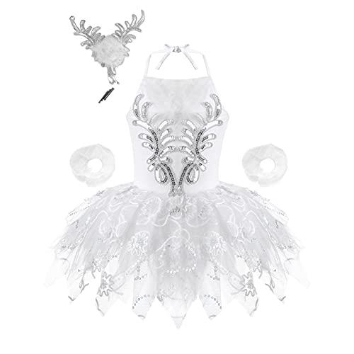 Mufeng Vestido Tutu de Malla sin Mangas para Niñas Leotardo de Vestido de Danza de Baile de Ballet con Lentejuelas con Pulsera Sombrero Blanco 1-2 años
