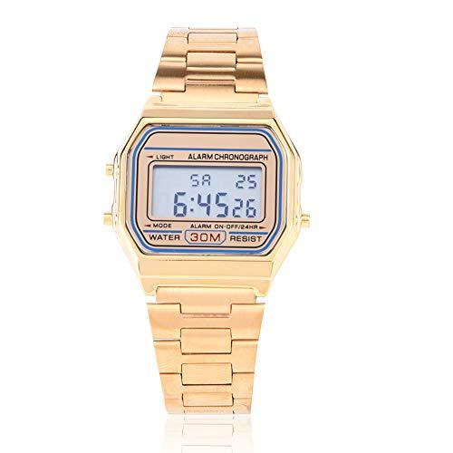 DAUERHAFT Reloj electrónico con Correa de Acero Inoxidable con retroiluminación LED Digital de 3 Colores, Reloj de Pulsera Rectangular, Resistente al Agua hasta 30 m(Oro)