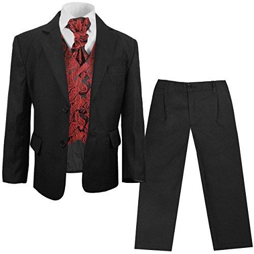 Paul Malone festlicher Jungen Anzug (tailliert) schwarz mit festlichem Westenset rot Paisley