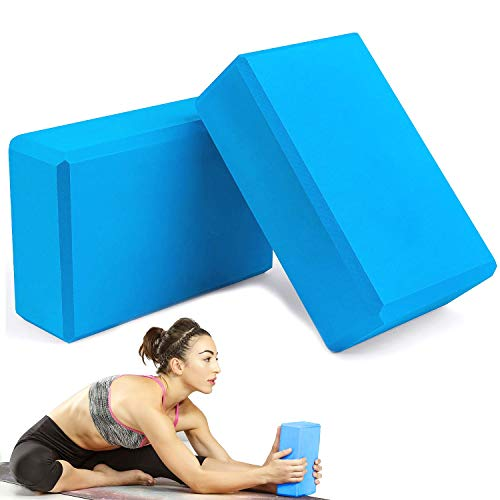 WELLXUNK Ladrillo Yoga 2 pcs Bloques de Yoga Bloque de Espuma EVA de Alta Densidad para Hacer Ejercicios en Casa-Set de Yoga para Mejorar Fuerza y Flexibilidad Yoga/Pilates Amantes