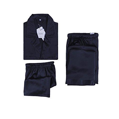 LilySilk Ensemble de Pyjama en Soie 3 Pièces Pyjama Homme Chemise Manches Courtes + Shorts + Pantalons Fluides X-Large Bleu Marine