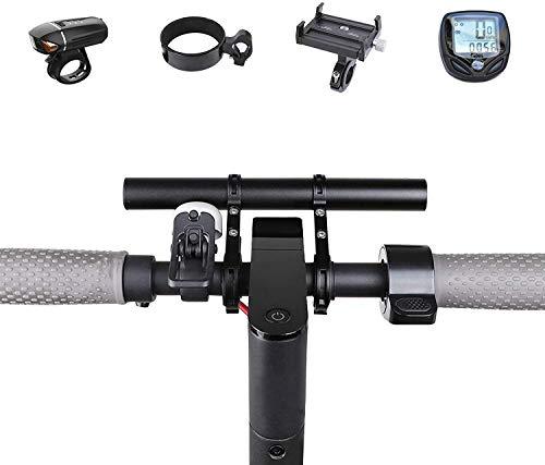 Kyowoll Manillar Bicicleta Extensor - Barra de extensión de Manillar para Bici,Soporte de Extensión con Abrazaderas Dobles para Luz de Bicicleta MTB GPS Teléfono Velocímetro (Negro-20cm)