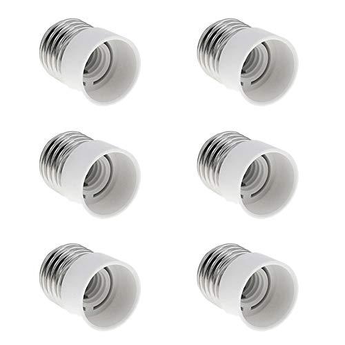 Adapter E27 auf E14 für E14 Kerzen-LED Birnen, E27 bis E14 Sockel Konverter, Lampensockel-Adapter Reduziert von E27 auf E14, Sockeladapter E27 zu E14 von Groß auf kleines Gewinde, 6er-Set
