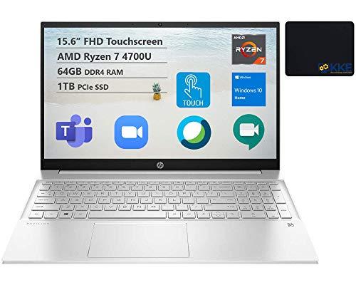 HP 2021 Pavilion Laptop, 15.6 FHD Touchscreen, AMD Ryzen 7 4700U (>i7-10510U), 64GB RAM, 1TB SSD, Webcam, B&O Audio, WiFi 6, Bluetooth, Backlit Keyboard, Numeric Keypad, KKE Bundle, Win 10 Home