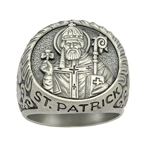 Fashion Handcrafted Saint Patrick Shamrock Irish Celtic Cross Ring For Men Jewelry Gifts 12