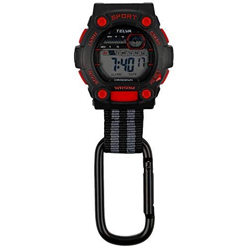 [クレファー] 懐中時計 カラビナウォッチ デジタル 防水 ストップウォッチ ライト 付き ブラック レッド CB-D240-BKR