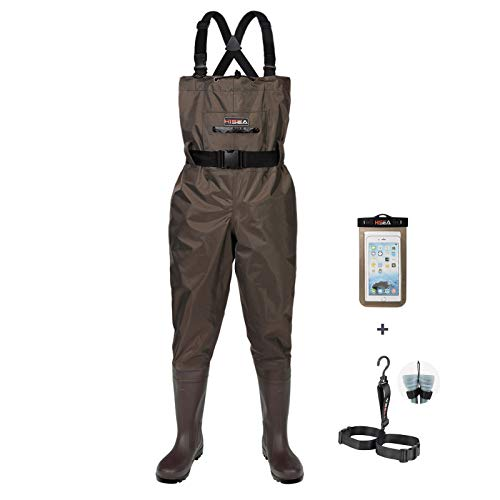 HISEA Upgrade Chest Waders Fishing Waders for Men with Boots Waterproof Lightweight Bootfoot Cleated 2-Ply Nylon/PVC