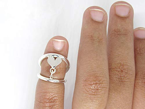 Heart Adjustable Silver Splint Ring for PIP or DIP Joint