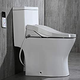 Woodbridge luxury, elongated one piece toilet with advanced bidet seat, t-0022, white 1 ✅including woodbridge bath one piece toilet and bidet seat, bidet seat fit the toilets perfect ✅sleek, low profile skirted elongated toilet, comfort height, water sense, high-efficiency ✅advanced bidet seat- smart toilet seat with temperature controlled wash functions and air dryer