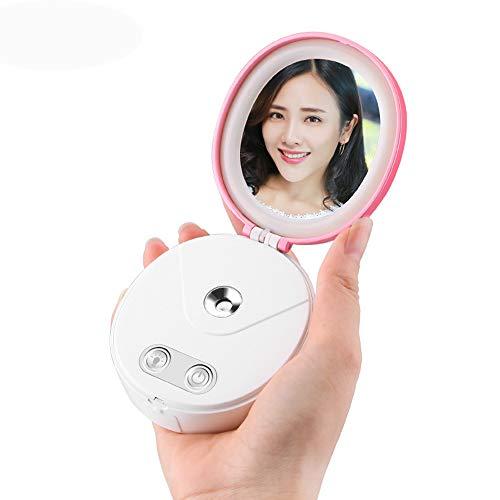 Nano Facial Steamer Skin Moisturizing Tool Wimperuitbreidingen Handige Ionische diepe reiniging, LED-make-upspiegel, 3 in 1 draagbare USB-oplader