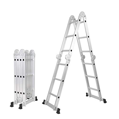 SogesPower 12.1ft Premium Folding Ladder Multi-Purpose Aluminium Extension Ladder Heavy Duty Combination with Safety Locking Hinges Scaffold Ladders,SPJF-403G