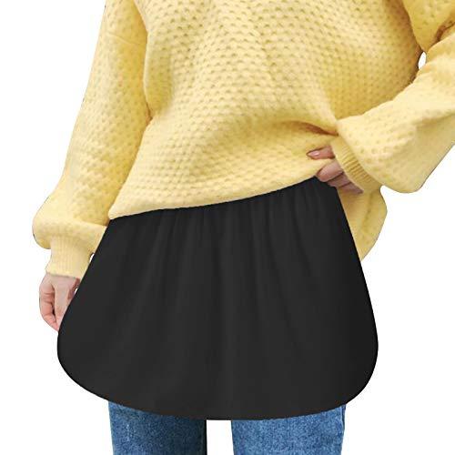Dasongff Shirt Extender Mini Skirt Minirock Shirt Extender Einstellbare Schichtung Innenrock Fake Top Mädchen Basic Rock Mini Skirt Lower Sweep, für Pullover Sweatshirt Jacke Mantel