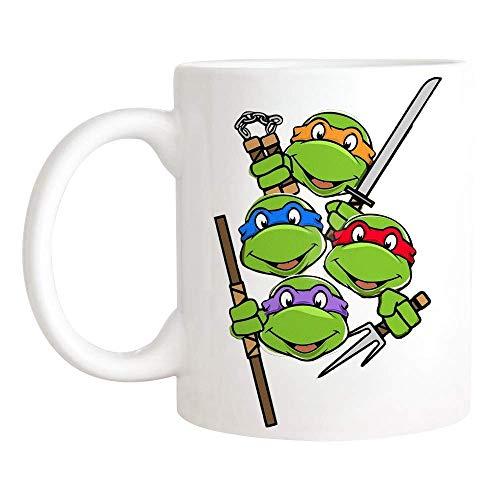 N\A Divertida Taza de Tortugas Ninja Taza de TMNT para Taza Fresca de los 80, Taza de Juego, Taza de café de cerámica de 11 oz/Taza de té