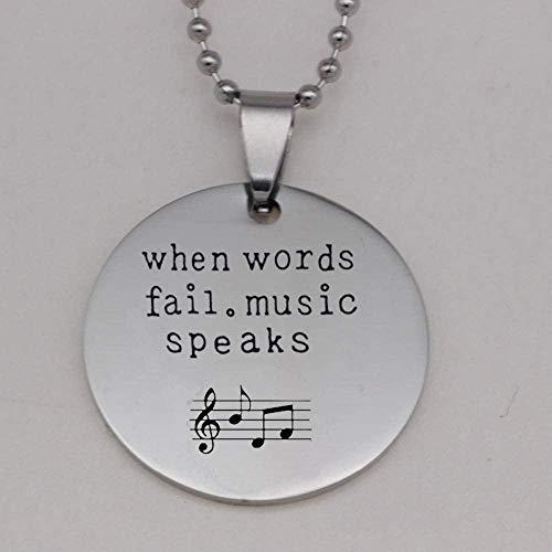 Acero Inoxidable 304 Cuando Las Palabras fallan.Música Habla Imprimir música Nota Collar Guitarra púa Colgantes Parejas Collares