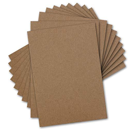 50x Vintage Kraftpapier DIN A4-21 x 29,7 cm - 280 g/m² Natur-braunes Recycling-Papier, 100% ökologisch Bastel-Karton Einzel-Karte
