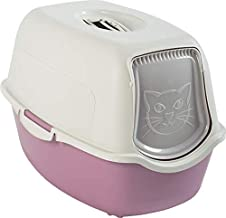 Rotho Bailey 4552903019 Cat Litter Tray with Cover Mauve/White