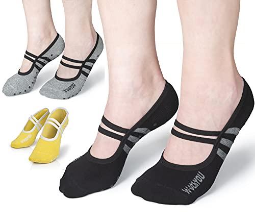 WithYou Yoga Socken Damen - Bequeme Antirutschsocken Damen - rutschfeste Abs Socken Damen Bester Qualität Ideal für Yoga, Pilates, Tanzen, Trampolin, Barfuß-Training - Multi-Farben (EU34-44)