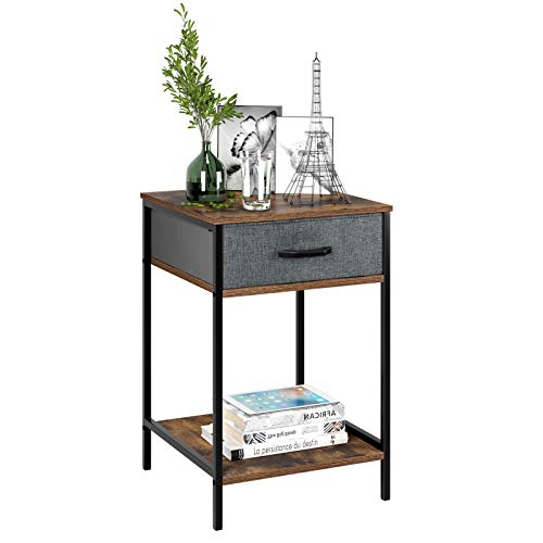 HOMFA Nightstand, 2-Tier End Table Side Table with Drawer, Shelf Dresser Storage Organizer and Open Shelf, Accent Table Modern Furniture in Home, Vintage