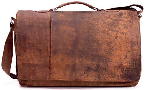 SYMPHONIE WESTERWALD Bolso para hombro, de mano, para cuadernos, para portátiles o para la oficina de cuero geniuno vintage