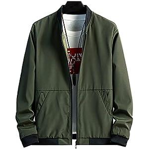 ODFMCE ジャケット メンズ 秋冬 MA-1 無地 ブルゾン おしゃれ カジュアル 大きいサイズ (グリーン, 2XL)