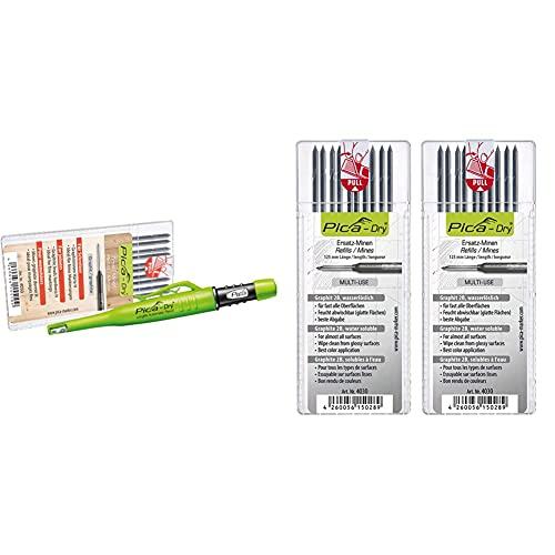 Pica Marker Dry Longlife Automatic Pen 3030 + 10 St. Graphit-Mine 4050, Ersatzminen, Härte H & 2x 4030 Dry Ersatzminen 4030 Graphit 2B, 2 Sets
