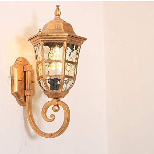 Applique da parete per esterno - Lampada da giardino per esterno classica classica, Lanterna da parete per esterno a 1 luce con paralume in vetro trasparente, Portico ideale, Corridoio, Lampada d