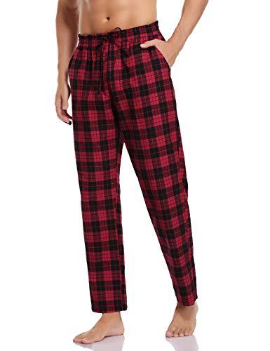 Hawiton Pantalones de Pijama Hombre Algodón Largo Pantalones de Dormir Hombre Invierno de Cuadros Pantalón Pijama de Estar...